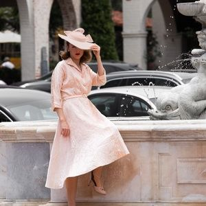 GORGEOUS Vintage Peach Pink Swing Dress